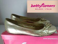 "BETTY FLOWERS"" BELLISSIMA BALLERINA IN VERA PELLE COL. ORO N°38 o 40  NUOVO"""