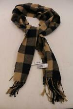 Old Navy Unisex Checkered Fringe Hem Flannel Scarf SH3 Camel One Size NWT