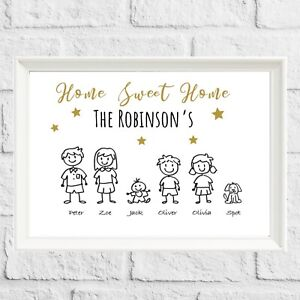 Personalised Family Birthday Gift Stick People Wall Art Print Frame Christmas