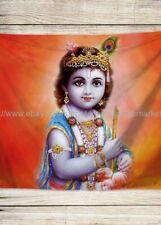 US SELLER,Lord Sri Krishna Baby Bal Krishna tapestry cloth poster big wall decor