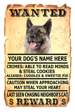 Norwegian Elkhound Dog Wanted Poster Flex Fridge Magnet Personalized Name