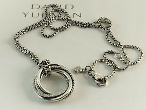DAVID YURMAN Silver  Crossover Diamond & Sterling Silver Pendant Necklace