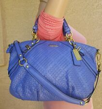 COACH Madison Woven Sophia Leather Satchel Bag Handbag Sac Indigo 22861 purse