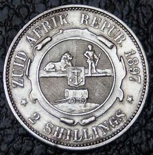 1897 South Africa - 2 Shillings - Silver - Low Mintage Date - Nice Detail - Ncc