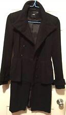 Asos Black Coat With Belt Peplum Size US2