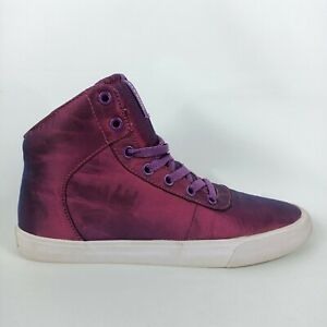 Supra Women's Size 8.5 US 40 EUR Purple High Tops Sneakers White Sateen Shoes