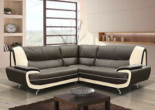 new palermo corner L- shape sofa in faux leather + chrome legs black brown white