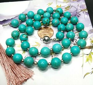"10mm Round howlite turquoise Necklace Gemstone Beaded 18"" 24"" 36"" 48"" Lariat"