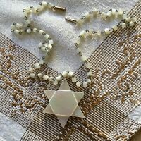 Vintage Rare HTF Mother of Pearl Jewish Star of David Beaded Necklace