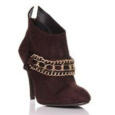 Bruce Makowsky Brown Genuine Suede Boots Chain detail Size 8 rrp$198 New in Box