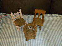 Three Cute Doll Chairs, Good Condition