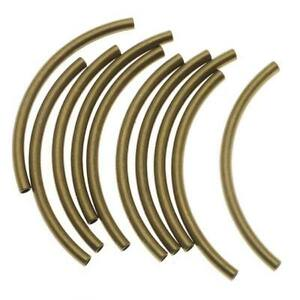 Antiqued Gold Plated Curved Noodle Tube Beads 3mm X 50mm (10)