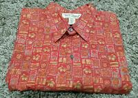 Tori Richard Mens Hawaiian Aloha Camp Shirt Red Floral Cotton Lawn XL