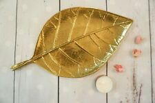 SAES Golden Leaf Metal Trinket Dish for Jewellery Earrings Etc