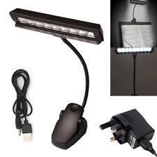 9 LED Flexible Clip-on Atril Mesa de Cama de Luz de Lectura Lámpara De Escritorio Negro