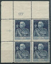 1925-26 REGNO GIUBILEO 1 LIRA D. 11 QUARTINA NUMERO TAVOLA MNH ** - T29