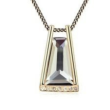 18K Gold GP Made With Swarovski Element Crystal Trapezoid Necklace Black