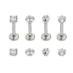 16G CZ Gem Round Tragus Lip Ring Monroe Ear Cartilage Stud Earring Bars Piercing