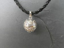 "Balinese Harmony Ball pendant genuine 925 silver 14mm ""Spirals"" with cord"