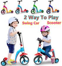 2-1 KIDS CHILD TODDLER SCOOTER PUSH KICK 3 WHEEL SWINGS CAR BALANCE RIDE ON TOY
