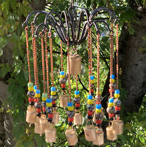 Bohemian Iron Chandelier Wind Chime Mobile With Glass Beads & Rustic Brass Bells