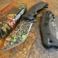 ZOMBIE HUNTER Grey SKULLS Spring Assisted Opening BLACK Pocket Knife NEW