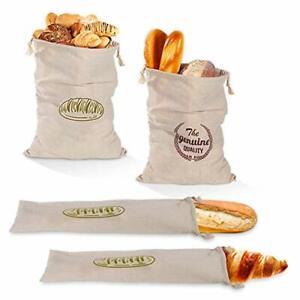 Movein Leinen Brotbeutel Brotsack4 Pack Wiederverwendbare Brot Tasche Brotbeu...