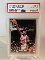 1994 Collectors Choice Michael Jordan Card #240 SILVER SIGNATURE- PSA NM-MT 8