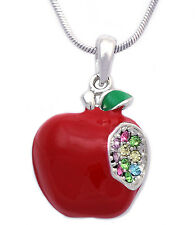 3D Red Apple w/ One Bite Heart Necklace Christmas Gift For Teachers  n2038