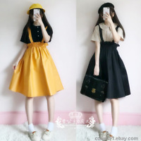 Japanese Preppy Style Sweet Cute Loli Girl JK Suspenders Dress Empire Waist