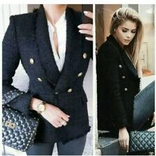 Zara Black Tweed Jacket with Buttons Frayed Trim Blazer Bloggers RRP £80 Size XS