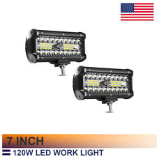 7 In Led Light Bar 2Pcs 120W 12000Lm Spot Flood Combo Beam Tri Row Off Road yl27