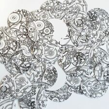 Round Sequin 30mm Steampunk Clockworks on White Opaque Loose Couture Paillettes