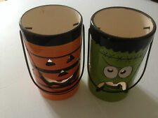 2 x Halloween Hanging Ceramic Tealight Holders with Tea Light Candles
