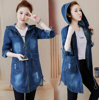 Women Hoodie Jean Denim Jacket Long Overcoat Shirt Tops Blouse Zip Coat New