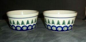 "2 Pieces Of Boleslawiec Polish Pottery Floral Bowls Matching Pair Bowls 5 1/4"""