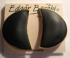 """EDGAR BEREBI Black Matte Gold Tone """" Colors In Art """" Earrings – Original Card"""