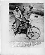 US Army Sargents on Bicycle near their Mortar in Korea Press Photo