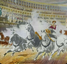 PHOTO ON GLASS OF PAINTING IMAGE IS HAND TINTED. CHARIOT RACE CIRCUS MAXIMUS.