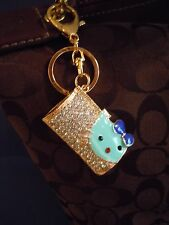 FABULOUS HELLO KITTY RHINESTONE GEMS BLING PURSE CHARM / KEY CHAIN / KEY RING