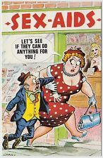 POSTCARD - saucy seaside comic, dominant fat lady sex aids shop, Bamforth #619