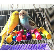 Bird Swing Toys Parrot Cage Toy Bells Wooden Ladder Hammock Training Accessories