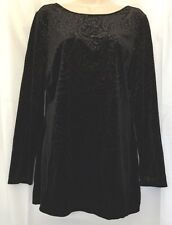 CACHE L Black Velvet Stretch Tunic Top Gold Embellished Long Sleeves
