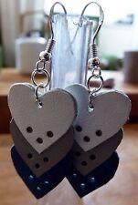 Boucles d'oreille cuir Fait Main Assemblage de Coeurs fermoir argent 925