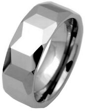 New Solid Tungsten Carbide 8mm Faceted Polished Band Ring Mens Boxed Sizes P-Z+2