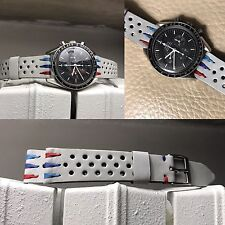"20 mm white ""shark teeth"" BMW M3 Leather Strap Bracelet Band for vintage uhr gmt"