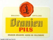 Germany 1960s Dillenburg Oranien Pils Bier Beer Label Tavern Trove