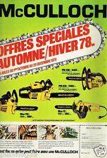 Publicité advertising 1978 Bricolage outillage Tronconneuses McCulloch