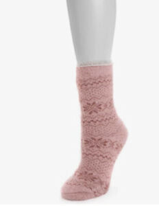 MUK LUKS Women's Heat Retainers Thermal Insulated Socks 6-11 Canyon Rose Fuzzy