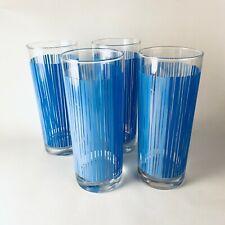 Ocean Thailand Collins Glasses Two Tone Blue Stripes Mcm Vintage Retro Set of 4